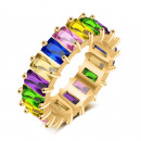 wholesale Jewelry & Watches: Gold-plated ring with rhinestones, stainless steel