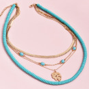 grossiste Chaines: Collier délicat multi turquoise N735
