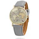 grossiste Bijoux & Montres: Montre marron mappemonde grise Z05SZ