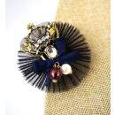 Großhandel Haarschmuck: Brosche Haarnadel Krone Schwarz mit einer Granate