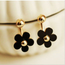 wholesale Jewelry & Watches: EARRINGS BLACK FLOWERS WITH A GOLDEN FILLING K18