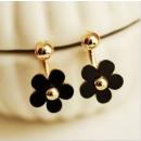 EARRINGS BLACK FLOWERS WITH A GOLDEN FILLING K18