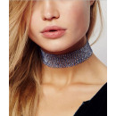 grossiste Chaines: COLLIER CHOKER CRISTAL 3,8 CM OPALING