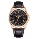 WATCH MALE YAZOLE PINK GOLD BLACK SHIELD CZ