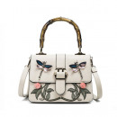 FLOWER EMBROIDERY BAG BEIGE Dragonfly T80BEZ