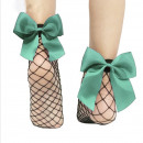 wholesale Stockings & Socks: Fishnet socks with mint bow SKAR01M