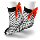 Fishnet socks with an orange bow SKAR01P