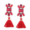 Earrings pompons decorated with red crystal K631CZ