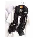 wholesale Scarves & Shawls: SHEEP SCARF Fringes black SZALS38