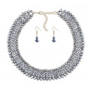 NECKLACE PLUS EARRINGS CRYSTALS SILVER N590S