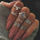 A SET OF 7 PIECES OF BOHO SILVER PE32 RINGS