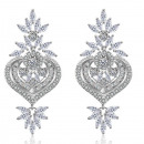 Wedding earrings hanging with silver crystals KSL