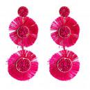 Earrings pompoms fuchsia K977F