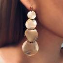 Earrings hanging golden circles K994Z