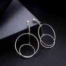 Earrings hanging silver circles K995S