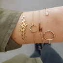 Set of 4in1 bracelets, gold moon leafs B248