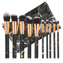 SET OF 10 BRUSHES MAKEUP BLACK MARBLE IN THE CASE