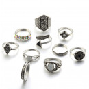 wholesale Rings: A set of 10 silver PE45 rings
