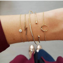Set of 5in1 bracelets gold beads moon round