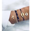 Set mit 6in1 Armbändern aus Goldperlen B31