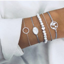 Set of 5in1 silver bracelets heart beads
