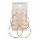 Set of 5 pairs of earrings, gold circles K1042