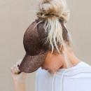 Women's cap with pony brocade brown C