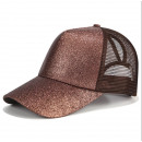 Großhandel Kopfbedeckung: Damenmütze mit Pony Brokat Braun C