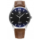 Yazole men's silver watch, black brown dial