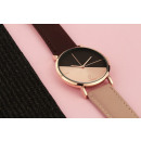 Women's watch classy rose gold on brown-pink