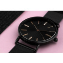 Women's classy black watch with crystals on th