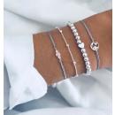 Set of 4in1 silver bracelets heart beads