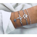 Set of 4in1 silver bracelets heart beads
