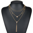 wholesale Necklaces: A necklace of multi crystals boho gold N651