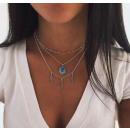 wholesale Necklaces: Necklace multi blue crystals, feathers, boho