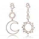 Großhandel Ohrringe: Ohrringe hängen Mond und Sonne Roségold K1073