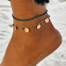 2in1 foot bracelet with gold beads and small circl