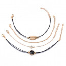 Set of 4in1 bracelets with golden scallop eyelet B