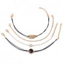 groothandel Sieraden & horloges: Set van 4in1 armbanden met gouden coquille ...