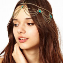 Tikka ornament band Boho Gold with turquoise O192