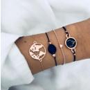 Set of bracelets 4in1 golden world map deer B30