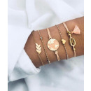 Set of 5in1 bracelets gold crystal beads B