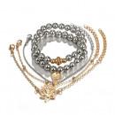 Großhandel Armbänder: Set 5in1 Armbänder Blumenkugeln B308