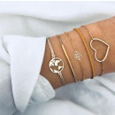 Set of bracelets 4in1 golden heart flower B315