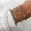 grossiste Bijoux & Montres: Un ensemble de bracelets 4in1 coeurs d'or aime