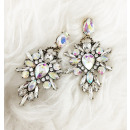 Hanging earrings opalescent jet decorated K102