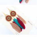 Earrings colorful boho feather K1087KOL