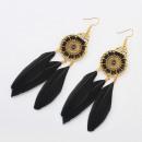 Earrings feather boho black K1087CZ