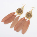 Earrings feather boho cream K1087K