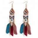 Earrings feather boho color K1088KOL